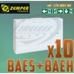 Pack bloc de secours BAES BAEH SATI LEDs ZEMPER x10