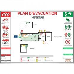 Plan d'évacuation avec cadre alu
