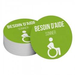 """Adhésif pour carillon d'appel """"Besoin d'aide"""" - vert 100 mm"""