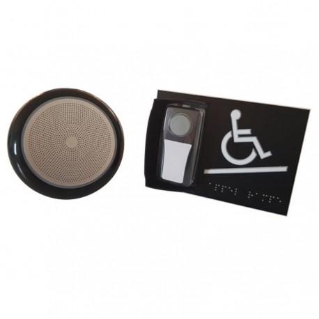 Kit carillon d'appel pour rampe d'accès mobile en relief noir - avec braille