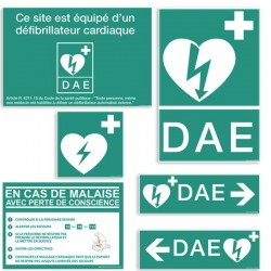 Pack de 5 fiches signalétiques DAE (une de chaque modèle)