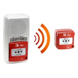 Alarme type 4 radio avec flash + 1 Déclencheur manuel d'alarme incendie radio