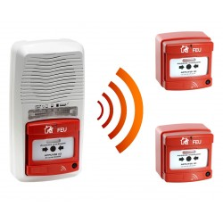 Alarme type 4 radio avec flash + 2 Déclencheur manuel d'alarme incendie radio