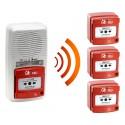 Alarme type 4 radio avec flash + 3 Déclencheur manuel d'alarme incendie radio