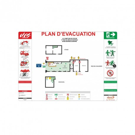 Plan d'évacuation sans cadre