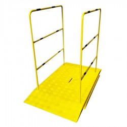 Rampe pour chantier haute résistance avec main courante - simple 1400 x 800 x 50 mm