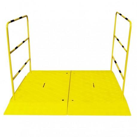 Rampe pour chantier haute résistance avec main courante - double 1400 x 1600 x 50 mm
